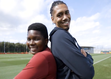 Chris Smalling and Pierre from Football Beyond Borders