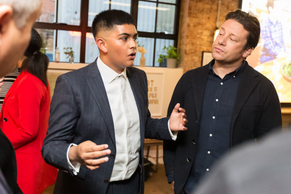 Dev and Jamie Oliver